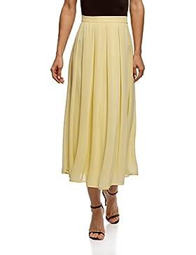 oodji Collection Mujer Falda Midi de Tejido Fluido con Pliegues Suaves