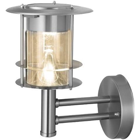 Best Season 477-75 - Lámpara LED solar de pared, acero inoxidable, aprox. 25 x 19 cm, 6 bombillas LED extrabright con luz blanca cálida, con panel solar, incluye batería para exteriores, color plateado