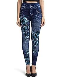 af943743c7249e EbuyChX Floral Print Butterfly Faux Denim Leggings Denim Dark Blue ONE Size
