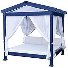 estrucmader - Cama balinesa con Cama de 2x2m, Techo a 2 Aguas, Azul+