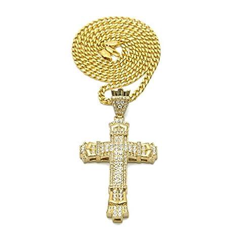KnSam Unisex Plaqué Or Colliers Pendentif Croix Jesus Crucifix PrièreChaîne avec Cuban link Or Crystal - 18k Crocifisso