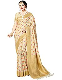 Aarti Apparels Women's Silk Saree With Blouse Piece (RoopRang-008_Beige)