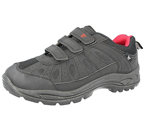 Foster Footwear Mens Ladies Hiking Trail Walking Trekking Style Triple Touch Close Strap Trainers Shoes Size 3-12 (UK 7, Black/Red)