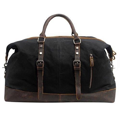 Canvas Weekender, P.KU.VDSL Leder Reisegepäck Reisetasche Duffle Bag Handgepäck Tasche Leather Wasserdicht für Herren Damen (A - Schwarz)