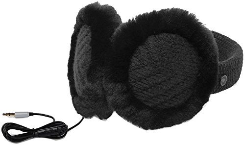 UGG Women's Textured Wired Knit Earmuff Black One Size (Uggs Womens Knit)