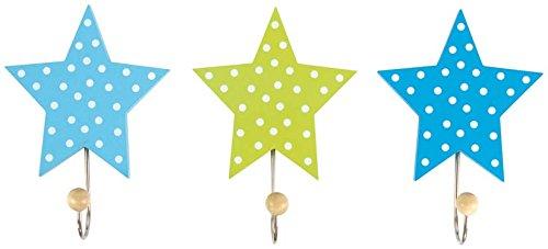 Garderobe Einzelhaken Sterne blau 3er Set