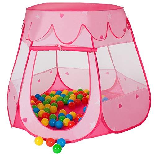MC Star Kinderzelt Babyzelt Prinzessin Traum Schloss mit 100 Bällen Tasche Bällebad für drinnen draußen Garten,Spielhaus Zimmerzelt Mädchen im Kinderzimmer,Pop Up (Pink)