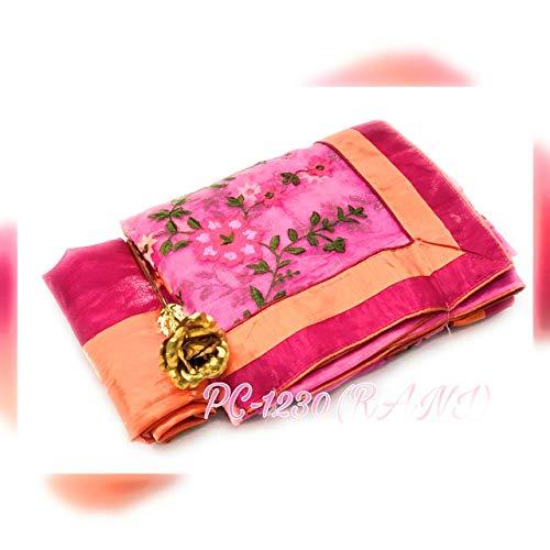 HOORIYAS Women's Raw Silk Saree with Khadi Weaving Pallu (H-182, Pink, Free Size)