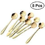 BESTONZON 8PCS Flowers Shaped Stirring Spoon Stainless Steel Ice Tea Dessert Spoon Kitchen Tableware (Golden)