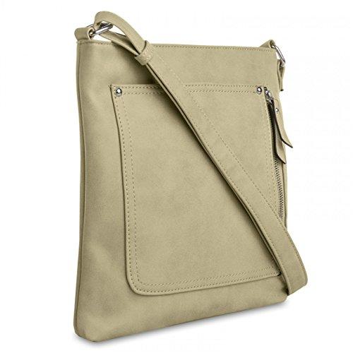 decac1447d698 CASPAR Damen Umhänge Tasche ALINA   Handtasche   Schultertasche   Messenger  Bag in vielen Farben TS819 sand