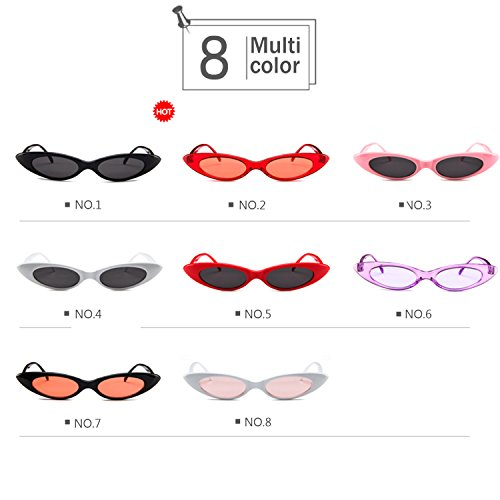 Lvjuzhuangshieur Vintage Sonnenbrille in Skinny Cat Eye Form - Retro Brille mit ovaler, runder Linse (Color : NO.8)