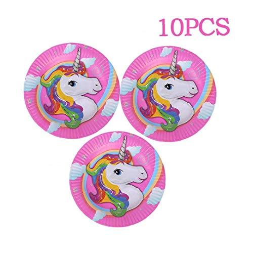 Bontand 10PCS Unicorn Theme Alles Gute zum Geburtstag Partei Teller Baby Bevorzugungen Geschirr Set