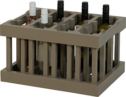 Weinkiste / Weinregal Modul-Bauweise für 12 Flaschen in der Farbe Antik-Grau