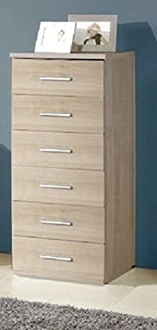 Germanica™ MUNICH Matching Chest Of Drawers In a Choice of 3 Colours and 3 Sizes (Washed Oak 6 Drawer Tallboy)