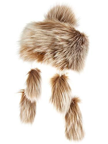 Futrzane Mongolische Fellmütze Strickmütze Mütze Bommel Fell Wintermütze Pelzmütze (Braun mit Weiß)