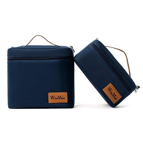 Isolierte Lunch-Tasche, wasserdicht, tragbar, mit abnehmbarem Schultergurt, 2Taschen (ineinander verpackt), blau