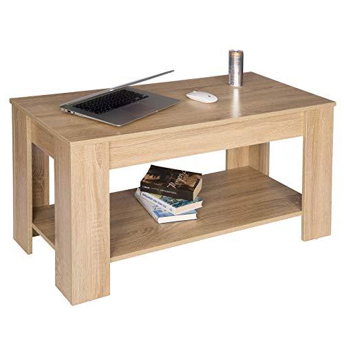 WOLTU TS48hei Table Basse de Salon avec Espace de Rangement en Bois,100x44,5x50cm(LxPxH) Chêne Clair