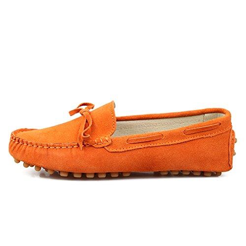 Minitoo pour femmes avec nœud en daim de chaussettes Loafers bateau Chaussures de détente Orange - Orange