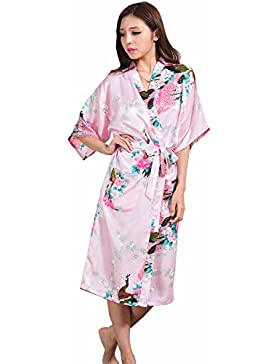 WYSMOL Peacock Floral Nightwear Kimono Satin Robe for Women Plus Size Long