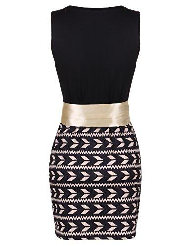 ZEARO Damen Elegant Bodycon Minikleid Partykleid Strandkleid Cocktailkleid Abendkleid Schwarz