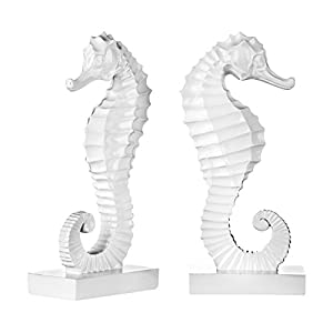 Premier Housewares Seahorse Bookends - Set of 2, White