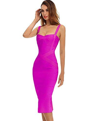Whoinshop Damen Ärmellos Bodycon Kleider Figurbetontes Festlich PartyKleider (XL, Rose)