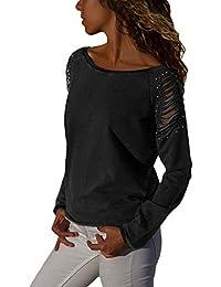 GOSOPIN Damen Casual Bluse Häkel Perlstickerei Tops Quasten Kalt Schulter  Freizeit Langarmshirt 7 Farbe S- ac11d412a2