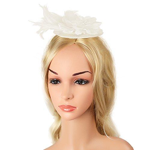 Haarspange Hut Feder Cocktail Tea Party Hüte Braut Kentucky Derby Stirnband Clip für Mädchen und Frauen (Mutter Und Baby Mädchen Halloween Kostüme)