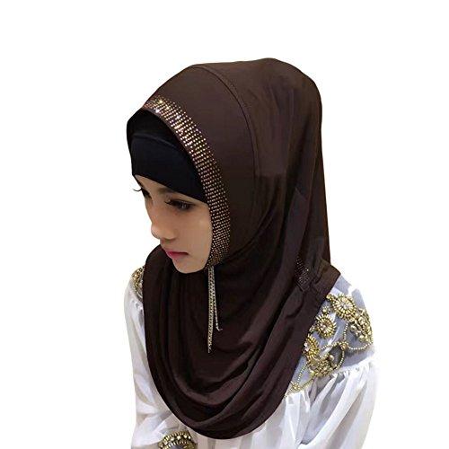 Meijunter Muslim Femmes Cristal perceuse Couvercle de tête Islamic Coton Écharpe Arabian Châle Hijab Café