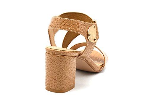 SHT15 * Sandales Nu-Pieds à Talon Carré avec Motif Ecailles Python Verni et Bande Elastique - Mode Femme Camel