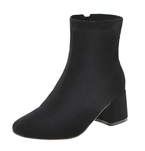 ddd9b8b0706c6 AgeeMi Shoes Donna Tacco a Blocco Scarpe a Chiusa Cerniera Inverno Stivali