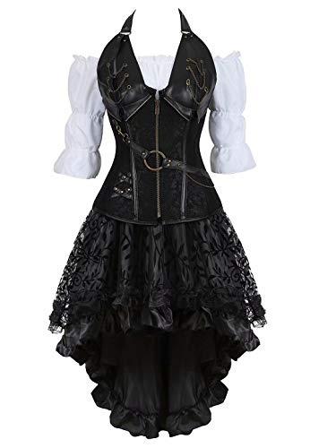 Josamogre Steampunk Corsagenkleid Corsage Kostüm mit asymmetrischer Spitzenrock und Bluse für Karneval Fasching Halloween Schwarz 3XL