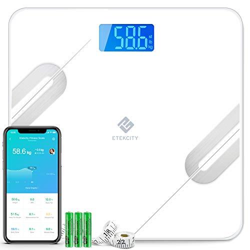 Etekcity Körperfettwaage Bluetooth Ultraschlanke Waage, Smart Personenwaage Digital mit APP für BMI, Gewicht, Muskelmasse, Wasser, Protein, Knochengewicht, usw, iOS & Android, 180 kg / 400 lb / 28 st -