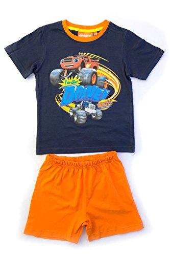 Blaze e le mega macchine - pigiama completo set 2 pezzi maglietta a maniche corte e pantaloncino - bambino - novità prodotto ufficiale 2412eq [blu/arancione - 8 anni - 128 cm]
