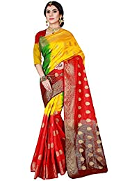 Viva N Diva Sarees For Women's Red & Yellow Color Banarasi Art Silk Saree With Unstitched Blouse Piece