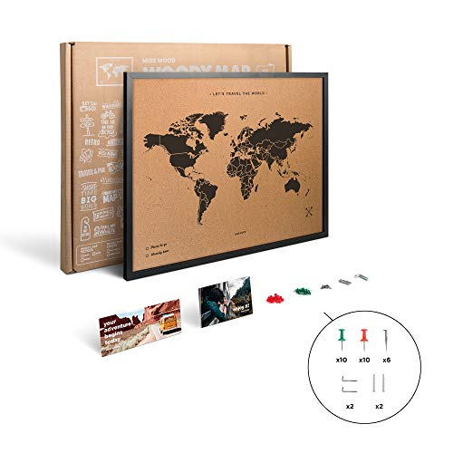 Miss Wood My World L Mappa di Sughero con Cornice, Legno, Nero, 48x 63x 1.5cm