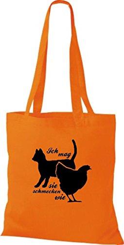 Shirtstown Stoffbeutel lustige Sprüche Ich mag Katzen, sie schmecken wie Huhn viele Farben orange