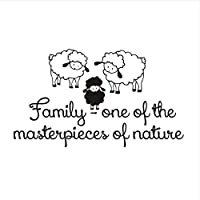 Dxyily Family One of The Masterpieces of Nature Three Sheep Wall Stickers for Kids Room Home Decor Lovely PVC Decal Classroom Mural Art 75X43Cm