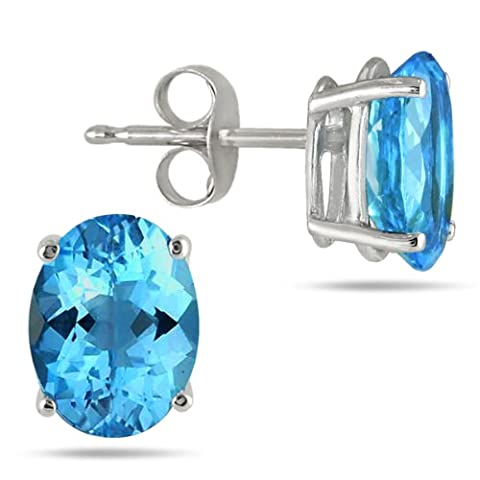 All-Natural Genuine 8x6 mm, Oval Blue Topaz earrings set in