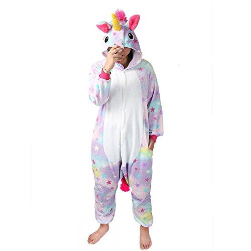 Unicsex Süß Einhorn Overall Pyjama Jumpsuit Kostüme Schlafanzug Für Kinder / Erwachsene (XL, Stern Einhorn) (Plüsch Kostüm)