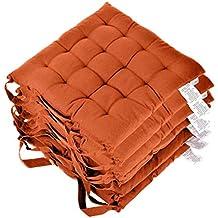 Homescapes Lot De 6 Galettes Chaise Matelassee En Pur Coton Terracotta 40 X