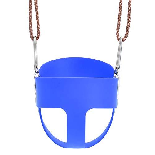HANG Schaukelstuhl für Kinderschaukel Eva-Schaukelkorb Kinderschaukelsitz mit voller Rückenlehne mit beschichteter Schaukelkette und Federhaken - Zubehör für Schaukelanzüge,Blue