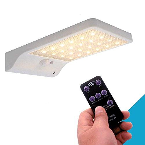 ACAMPTAR Aufgeruestetes 48 LED Solarlicht justierbare Farbe mit Kontroller drei Modi wasserdichte Lampen Leuchten fuer Garten Wand Strasse im Freien weiss 48 Led-farbe