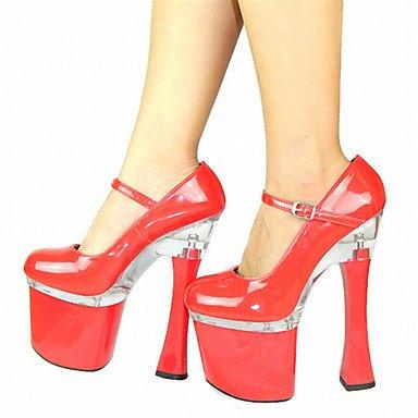 Ch & Tou Womens-heels-soirée Et Soirée Formelle Casual-plateau Club Chaussures-square Plateau-brevet-black Red Red