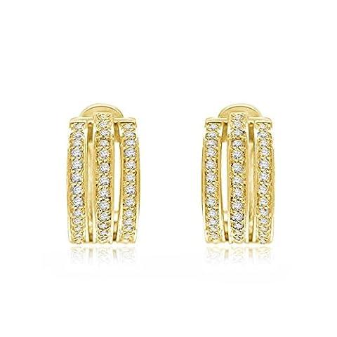 0.56ct G/VS1 Diamant Ohrringe für Damen mit runden Brillantschliff diamanten in 18kt (750) Gelbgold