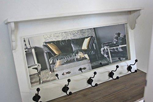 elbmöbel Garderobe mit Spiegel Holz antik weiß Landhaus Cottage Wandgarderobe Haken