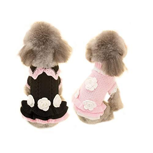 Lager Show Cute Sweet Puppy Hund Prinzessin Strick Pullover mit Hand Stickereien Blume Pet Cat Saison Weicher knitdress Pullover Hund Bekleidung Haustier Slim Fit, M, Schwarz -