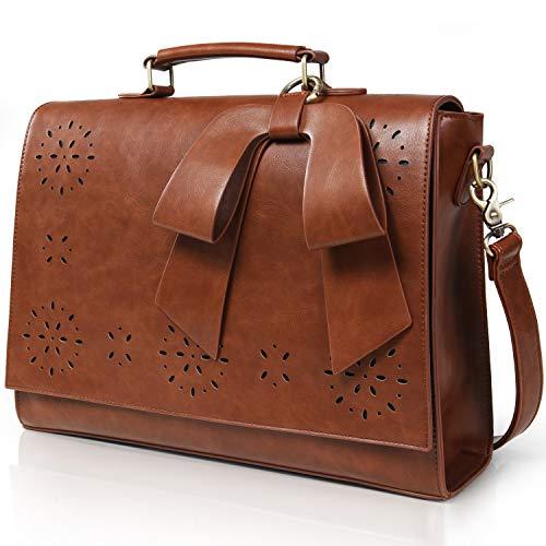 Lifewit Damen Schulertasche Aktentasche Vintage Arbeitstasche Messenger Bag Laptoptasche 14 Zoll Leder Braun