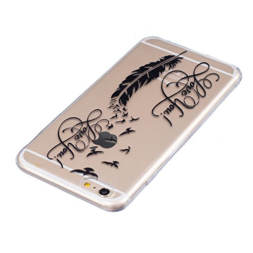 iPhone 6 Plus Hülle, E-Lush Beliebte Indische Sonne Muster für Apple iPhone 6/6S Plus (5.5 zoll) Telefonkasten TPU Silikon Rand Acryl Rückseite Abdeckung Handyhülle Clear Transparent Schutzhülle Weich Love You Feder