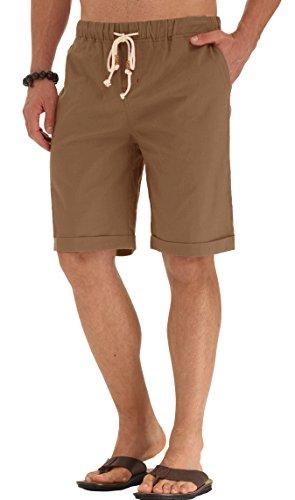 POSESHE Herren Drawstring Leinen Casual Sommer Beach Shorts Dunkles Khaki